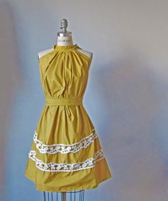 Dress /  mustard  yellow   / Vintage lace / Ruffles / Romantic / Dreamy / Soft  / Sleeveless  / Bridesmaids / Wedding  / Flowy / Delicate. $69.99, via Etsy.
