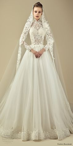 Fadwa Baalbaki Spring 2017 Couture Dresses couture illusion long sleeves high neck lace a line wedding dress (11) mv -- #wedding #bridal #romantic #longsleeves #lace