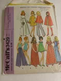Vintage McCalls Pattern 3429 Barbie Doll Fashion Trousseau  Factory Fold by VintagePatternDrawer on Etsy