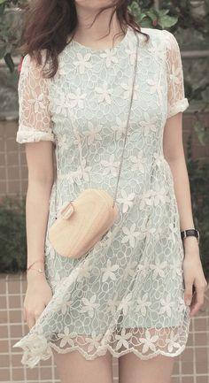 Full Crochet Floral Mint Green Dress