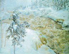 Akseli Gallen-Kallela - Winter Scene from Imatra Winter Scenes, Snow And Ice, Tree Art, Finland, Scandinavian, Illustration, Photography, Artists, Studios
