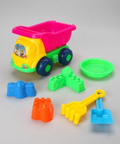 Take a look at the Purple & Green Beach Dump Truck Set on #zulily today!