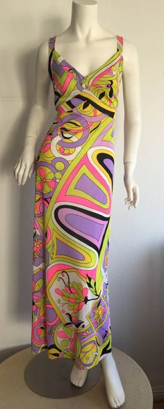 Amazing 1970s Vintage Leonora Psychedelic Colorful Wrap Maxi Dress 8