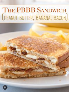 The PBBB Sandwich: A savory peanut butter sandwich stuffed with bananas and crispy bacon and grilled to perfection.