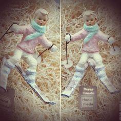 Купить Лыжник. - бежевый, ватная игрушка, ватная елочная игрушка, ватное папье-маше