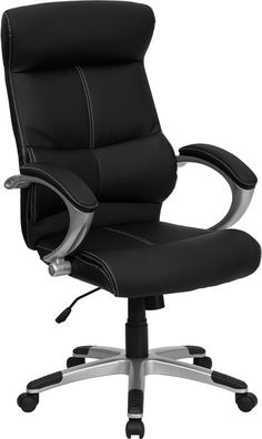 Flash Furniture High Back Black Leather Executive Swivel Office Chair With Curved Headrest And White Line Stitching Black Used Office Chairs, High Back Office Chair, Black Office Chair, Executive Office Chairs, Swivel Office Chair, Desk Chair, Office Desk, Office Plan, Contemporary Office Chairs