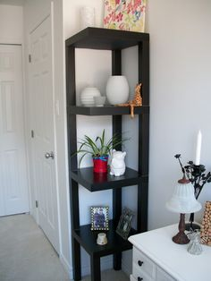 IKEA corner shelf hack: a very nice repurposing of four Lack side tables.