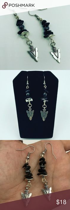 Two for $25! Onyx hematite boho arrow earrings FREE GIFT WITH EVERY PURCHASE !! LET ME KNOW IF YOU WANT MEN OR WOMEN GIFT WHEN PURCHASING Women dangly earrings . Handmade by me . Nickel free earrings . Genuine Hematite and onyx gemstones chips . Silver plated arrow head charms . I ship fast!✈️Bundle & save! . Any questions let me know ! No transactions outside Poshmark!! TWO for $25 every items marked with  emoji . Bundle your likes & send me the offer and I will accept it ✌ Silverskylight…