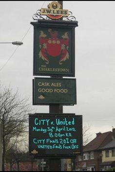 Man city broadcast fans tweets fans pr stunt by the charlestown pub in manchester ahead of mondays derby mcfc fandeluxe Choice Image