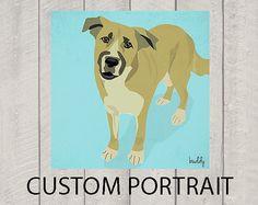Custom Dog Portrait  Modern Dog Art by HappyTailPrints on Etsy, $30.00