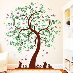 Wandtattoos - Wandtattoo Baum mit Häschen 4farbig Schmetterlinge - ein Designerstück von wandtattoo-loft bei DaWanda