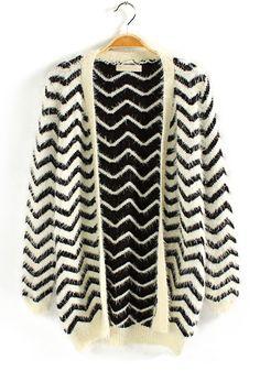 Navy Blue Striped Rabbit Fur Wool Blend Cardigan