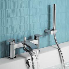 Nelas Bath Shower Mixer Tap with Hand Held Shower Head - : Platinum Taps & Bathrooms