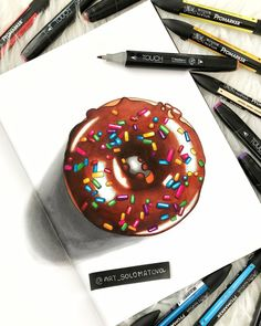 Abstract Pencil Drawings, Colored Pencil Artwork, Color Pencil Art, Donut Drawing, Food Drawing, Copic Marker Drawings, Marker Art, Alcohol Markers, Copic Markers