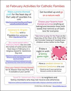A free printable with ten ideas for Catholic families to do together in February