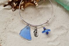 Mermaid Sea Glass Adjustable Bangle Bracelet ~Cornflower Blue Texas Sea Glass ~ Birthday gift for ladies, best friend, sister ~ Beach Glass