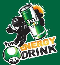 "T-shirt geek, jeux vidéos boisson energisante geek ""1up Energy Drink""   Checkpoint Tshirt   Checkpoint Tshirt"