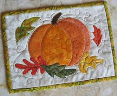 You have to see Autumn Pumpkin Mug Rug on Craftsy! - Looking for quilting project inspiration? Check out Autumn Pumpkin Mug Rug by member - via Mug Rug Patterns, Applique Patterns, Applique Quilts, Quilt Patterns, Halloween Sewing, Fall Sewing, Halloween Quilts, Pumpkin Quilt Pattern, Quilting Projects