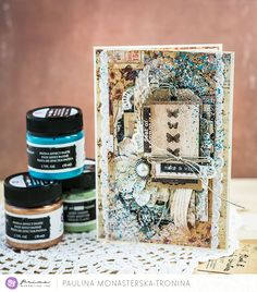 """Hello, our blog fans. I love to use the mixed-media techniques in such a small type of projects, like cards. Prima Marketing Inc. offer you so many different products, like this Patina Paste set! Choose your best, use your imagination, and create. Here is my proposition for today!"" ~ Paulina"
