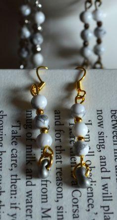 White Howlite Calm and Pure Dangle Earrings.