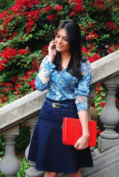 Via tolentino - Saia jeans  http://www.crisfelix.com.br/2016/05/look-da-cris-camisa-e-saia-jeans-via.html
