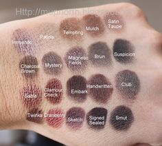 MAC Grey Eyeshadow swatches.  My personal favs are Satin Taupe, Sable, Club & Magnetic Fields