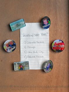 Vacation photos turned into magnets! Great decor idea!