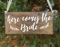Rustic Here Comes the Bride Sign Ring Bearer Sign Wedding Sign
