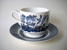 Churchill Blue Willow Cups and Saucers - My best friend collects this pattern