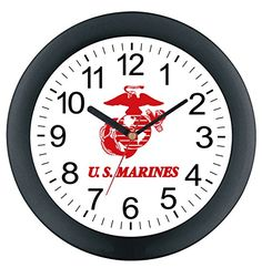 "Aqua Force Marines 10"" Round Wall Clock. 10 Inches in Diameter. Translucent Plastic Case. U.S. Marines Insignia. Great for Game Rooms and Offices."