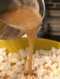 1 cup salted butter, I cup brown sugar, 1/2 cup light corn syrup, kosher salt. Bring to a boil in a saucepan, and let boil, without stirring for 4 minutes. Pour over popcorn, and spread onto parchment paper lined cookie sheet. Bake for 30 minutes at 300*
