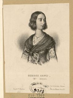 Portrait anonyme de George Sand Authors, Writers, Writing A Biography, George Sand, Music Composers, Caricatures, Tat, 19th Century, Printmaking