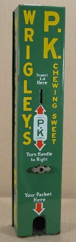 "Wrigley's P.K. Chewing Sweet. Maker unknown, probably British, c. 1920's, 22"". Gum. Vending machine. Small Vintage Vending"