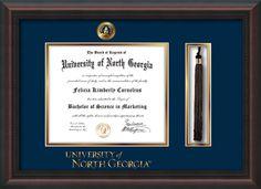 U of North Georgia Diploma Frame-Maho Braid-UNG-Tassel-Word-Navy/Gold – Professional Framing Company