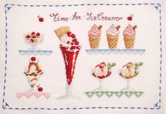 Ice-cream finished cross stitch Gelato shop by MeandMamaCreations Gelato Shop, Frame It, Cottage Chic, Wall Art Decor, House Warming, Cross Stitch, Ice Cream, It Is Finished, Red Green
