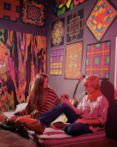 Hippie Couple Smoking in Psychedelic Bedroom
