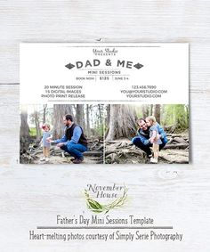 Father's Day Mini Sessions Photoshop template for family photographers from November House