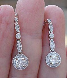 14K White Gold Diamond Drop Earrings $799