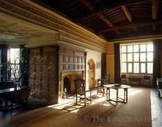 The panelling surrounding the fireplace in the gallery dates from the 15th century