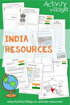 Learn about India with the kids with this fun collection of worksheets and printables - just a sample of what we have available. Teaching Plan, Teaching Kids, Kids Learning, Independence Day Activities, Independence Day India, Worksheets For Kids, Geography Worksheets, India For Kids, Around The World Theme