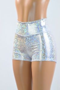 Silver on White Shattered Glass Holographic High Waist Shorts Rave Festival NWT