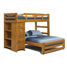 Chelsea Home Twin over Full L-Shaped Bunk Bed with Chest and Bookcase