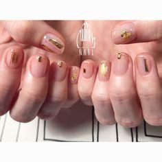 ◻️⬜️◽️✨▫️⬜️⚪️▫️ #nail#art#nailart#ネイルアート#gold#ワイヤーネイル#クリアネイル#ショートネイル#nailsalon#ネイルサロン#表参道#ワイヤー111#gold111#クリアネイル111