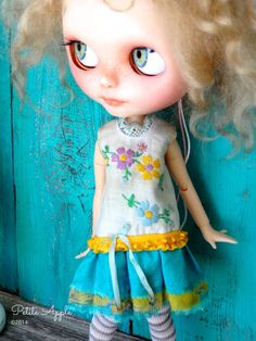 Blythe doll outfit OOAK Longing for spring by PetiteAppleShop