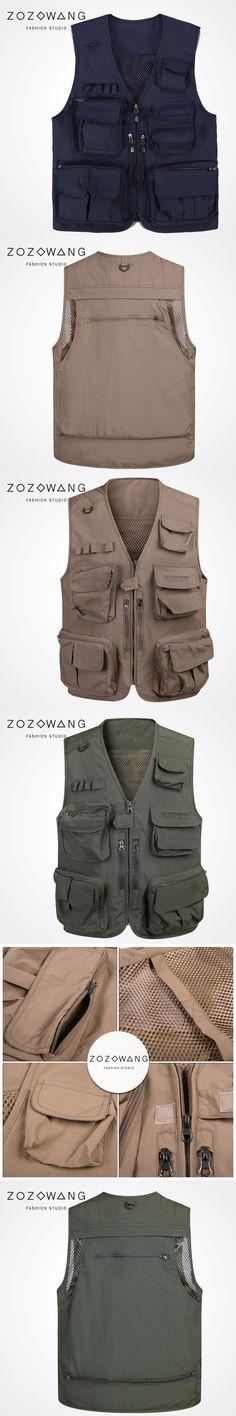 Zozowang new solid Multi-pocket zipper V-neck spring autumn fashion mesh vest men loose casual Multifunction waist coat men