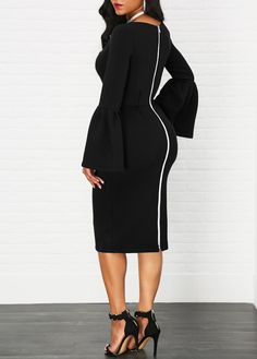 Flare Sleeve High Waist Zipper Back Black Dress on sale only US$33.95 now, buy cheap Flare Sleeve High Waist Zipper Back Black Dress at liligal.com