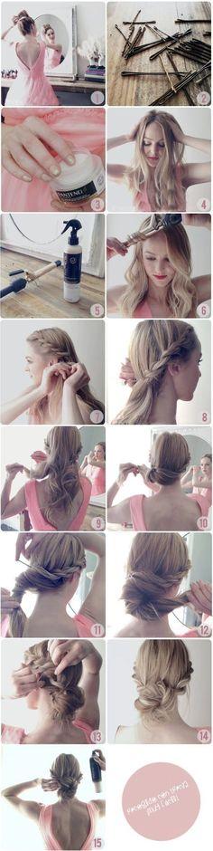 hair tutorials, rope, long hair, braid, prom hair
