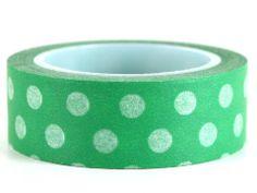 Green Polka – GetWashi.com - Green with white polka dot washi tape.  $1.97