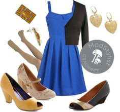 """""""Breakfast Special Dress in Blue"""" by modcloth on Polyvore"""