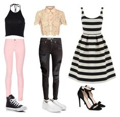 """""""IDK"""" by alexia-chitul on Polyvore featuring self-portrait, Warehouse, Maison Kitsuné, Converse and STELLA McCARTNEY"""